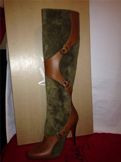 Christian Louboutin Suede Canassone Harness Olive Green/Brown Boots Image 11