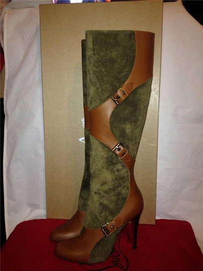 Christian Louboutin Suede Canassone Harness Olive Green/Brown Boots Image 3