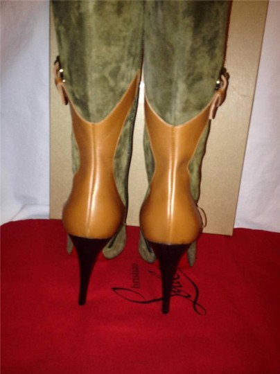 Christian Louboutin Suede Canassone Harness Olive Green/Brown Boots Image 5