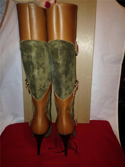 Christian Louboutin Suede Canassone Harness Olive Green/Brown Boots Image 6