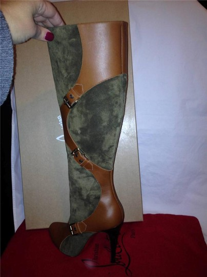 Christian Louboutin Suede Canassone Harness Olive Green/Brown Boots Image 7