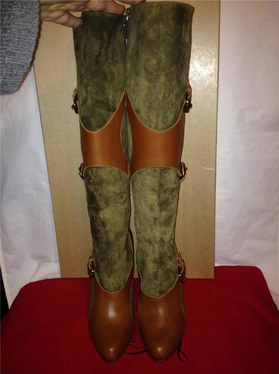 Christian Louboutin Suede Canassone Harness Olive Green/Brown Boots Image 9