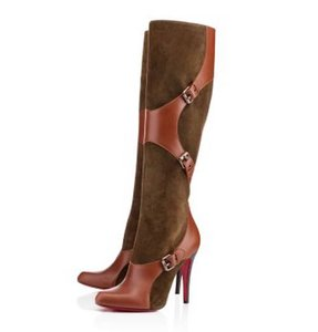 Christian Louboutin Suede Canassone Harness Olive Green/Brown Boots