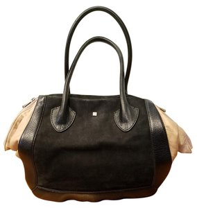 Pour La Victoire Leather Satchel Suede Hobo Tote in Black beige