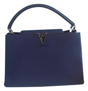 Louis Vuitton Capucines Capucines Mm Taurillion Satchel in Blue