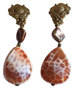 Stephen Dweck Bronze & Striped Caramel Drop Earrings