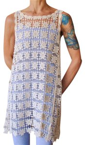 Cactus Flower Crochet Macrame Ivory White Tank Dress Swimsuit Beach Cover Up