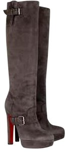 Christian Louboutin Suede Harletty Platform Knee High Brown Boots