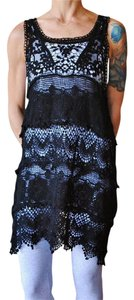 Cactus Flower Crochet Macrame Black Lace Tank Dress Swimsuit Beach Cover Up