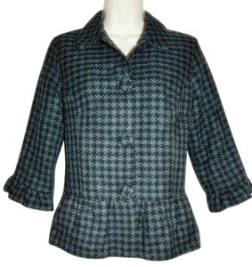 Mossimo Supply Co. Peplum Jacket Houndstooth Plaid Black, Gray, Metallic Threads Blazer