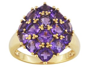 elle cross Perfectly Matched Cushion Pear Cut Brazilian Amethyst 18K SS Ring