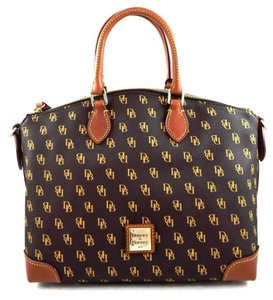 Dooney & Bourke Greta Signature Brown T-moro Strap Satchel in T-moro Brown