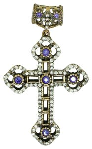 Elle Cross RENAISSANCE CROSS PENDANT 925 STERLING SILVER AMETHYST, BRONZE ACCENT