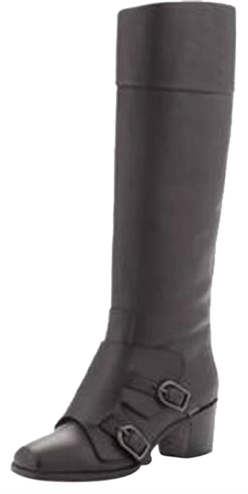 Christian Louboutin Black Caballero Leather Monk Boots/Booties Strap Knee High Tall Boots/Booties Monk 04850a