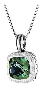David Yurman Albion Pendant Necklace with Prasiolite and Diamonds Hinged Cable Bale