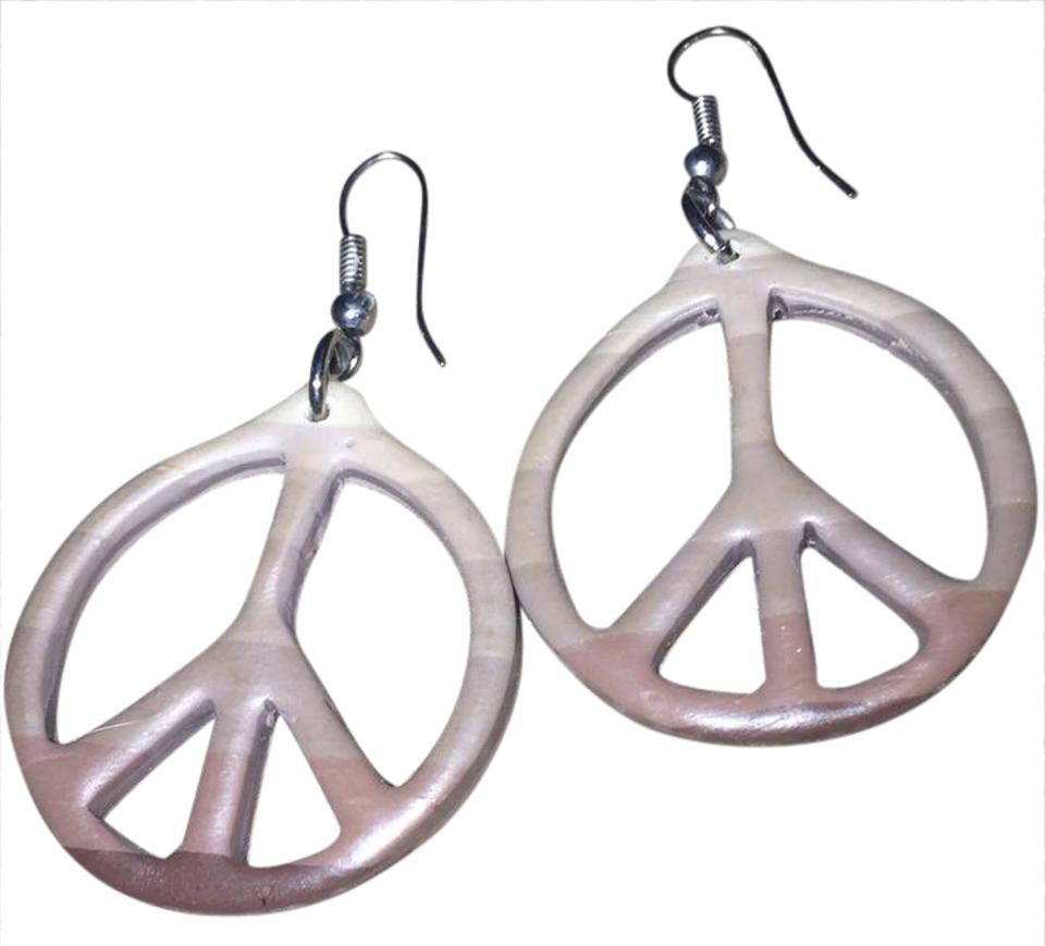 Anthropologie Brown Taupe Ombré Peace Sign Earrings