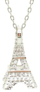 ELLE CROSS 1.75CTTW DIAMOND SIMULANT EIFFEL TOWER PENDANT EARRING SET