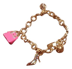 Kate Spade Kate Spade New York Gold Tone Pink Purse Shoe BLING Charm Bracelet NEW