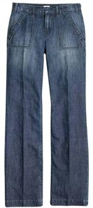 J.Crew Machine Washable Trousers Classic 5 Pocket Trouser/Wide Leg Jeans-Dark Rinse