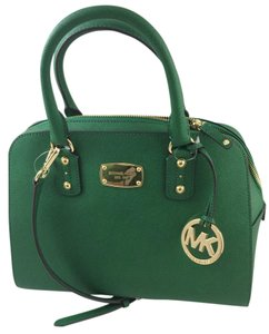 Michael Kors Saffiano Leather Crossbody Strap Satchel in Green