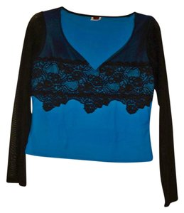 TD4 Exlusive Of Decor Blouse Tunic Top Black, Blue