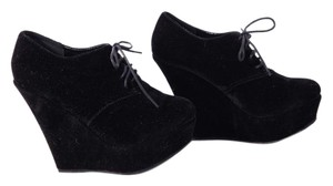 Delicacy Lace Up Evening Party Black Wedges