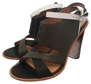 L.A.M.B. Leather Espadrille Chunky Heel Ombre Black / Olive Green / White Pumps
