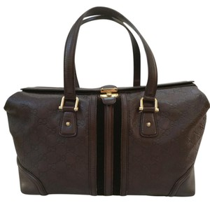 Gucci Leather Gg Boston Satchel in Brown
