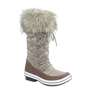 BESTON Snow Waterproof Weather Proof Lace Up Faux Fur Trim TAUPE/KHAKI Boots