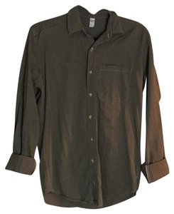 American Apparel Button Down Shirt green