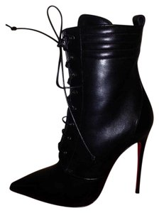 Christian Louboutin Ankle Mado Lace Up Black Boots