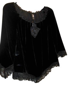Laundry by Shelli Segal Trim Tunic Top Black, Lace, Velvet