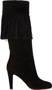 Christian Louboutin Suede Majung Fringe Black Boots
