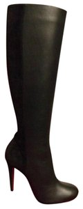 Christian Louboutin Suede Acheval Leather Knee High Black Boots