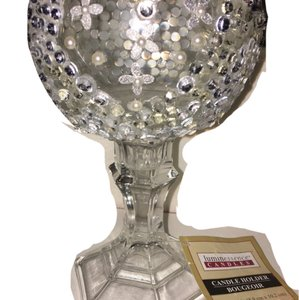 Jeweled Out Glass Candle Holder