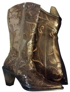 John Fashion Sequins Cowboy Pointed Toe New In Box Stack Heals CHOCOLATE Boots