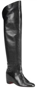 Christian Louboutin Over The Knee Beatriche Hidden Wedge Flat Black Boots