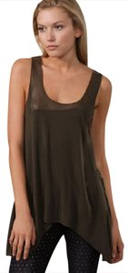 Alice + Olivia Asymmetrical With Leather Top Olive Green