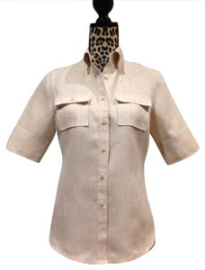 Brooks Brothers Spring Summer Short Sleeves Off-white Business Casual Top Oatmeal