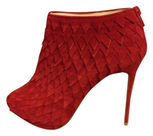 Christian Louboutin Diplonana Scale Open Toe Red Boots