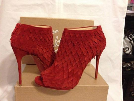 Christian Louboutin Diplonana Scale Open Toe Red Boots Image 10