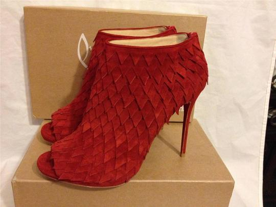 Christian Louboutin Diplonana Scale Open Toe Red Boots Image 5