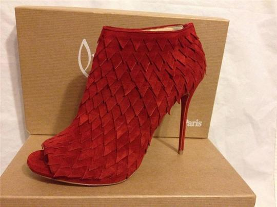 Christian Louboutin Diplonana Scale Open Toe Red Boots Image 8