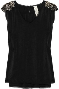 Juicy Couture Bird By Juicy C Embellished Blouse Embllished Applique Brushed-satin Top Black