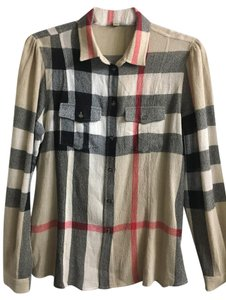 Burberry Brit Button Down Shirt Beige/multi