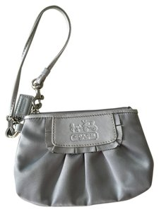 Coach Silk Ruffle Wristlet in Silver Outside, Lavender Inside