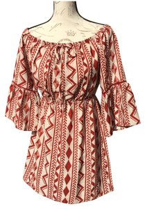 Soprano short dress Red Aztec Beige on Tradesy