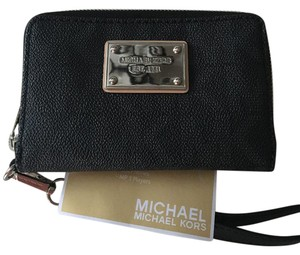 Michael Kors Monogram Leather Gold Hardware Wristlet in Brown Monogram