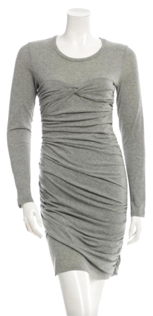 Item - Grey Scoop Neck Ruched Body Short Casual Dress Size 6 (S)