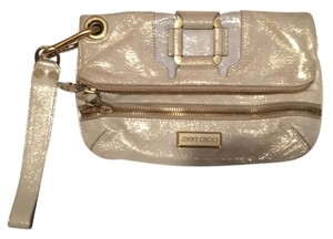 Jimmy Choo Beige Metallic Clutch